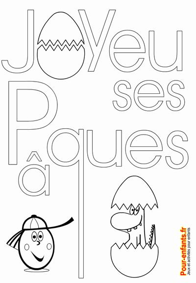 Joyeuses Pâques à Imprimer Dessins De Paques Texte Coloriage Pâcques