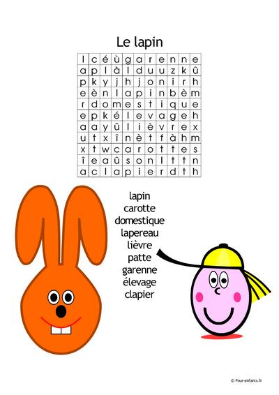Mots cachés de PAQUES Thème : le lapin